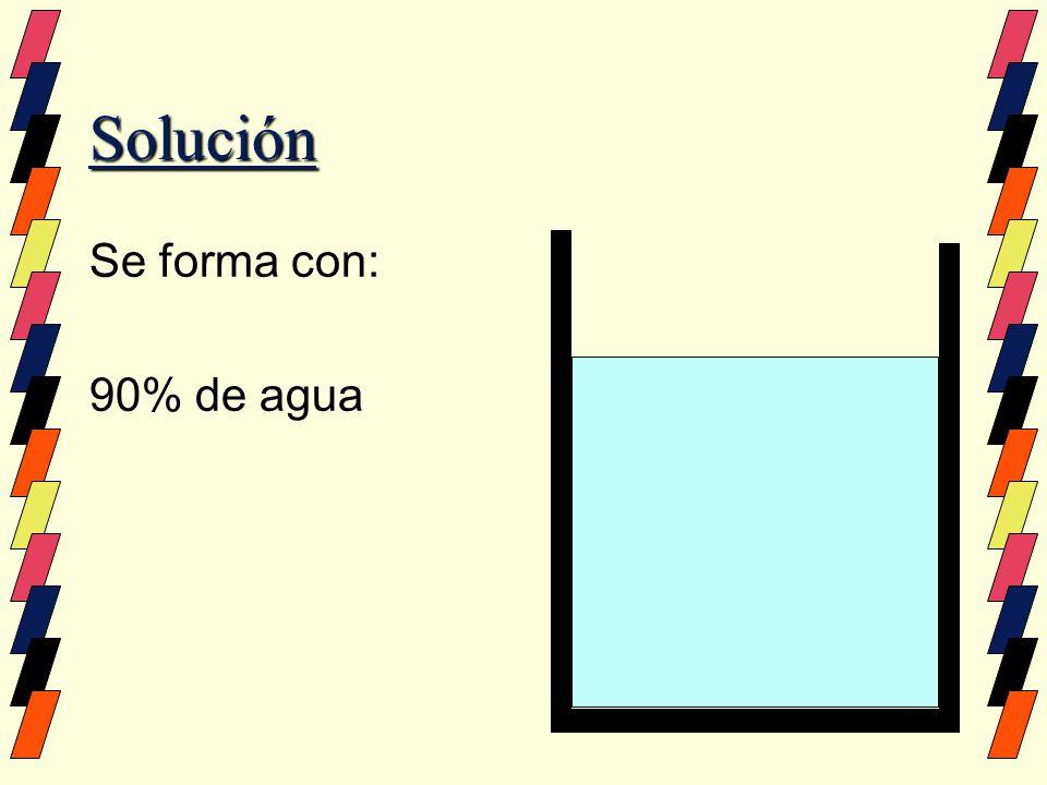 Solución Se forma con: 90% de agua