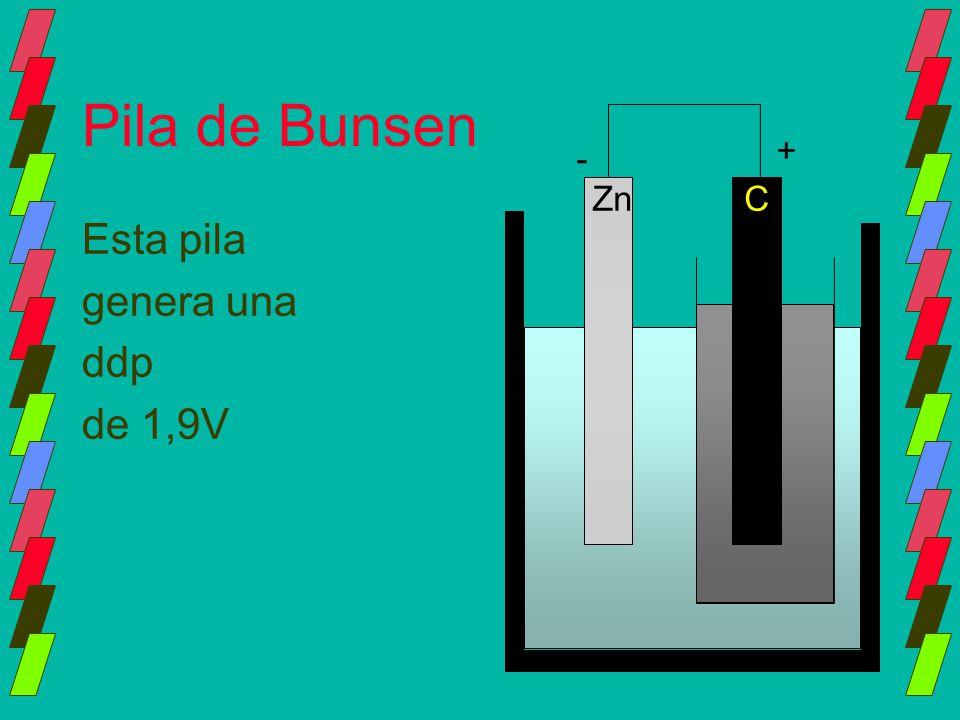 Pila de Bunsen + - Zn C Esta pila genera una ddp de 1,9V