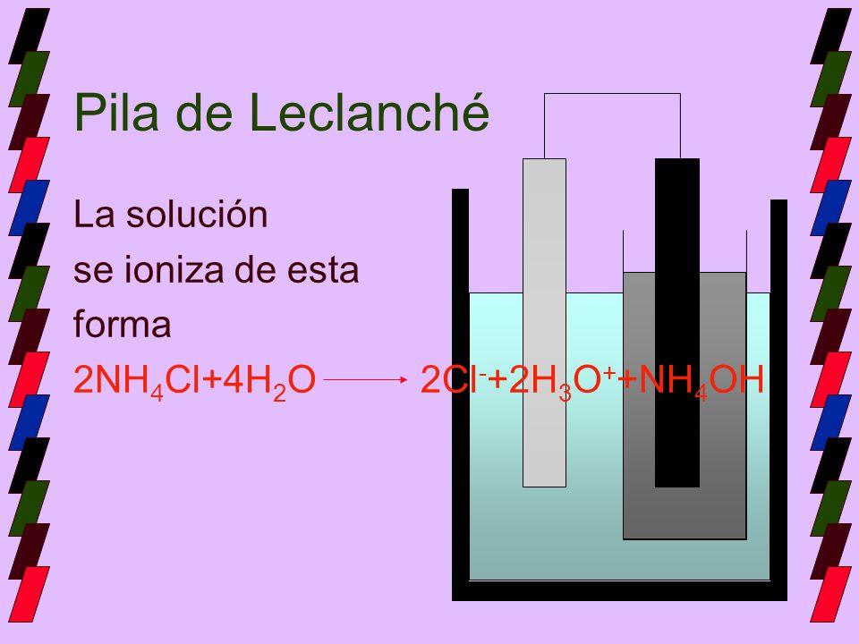 Pila de Leclanché La solución se ioniza de esta forma