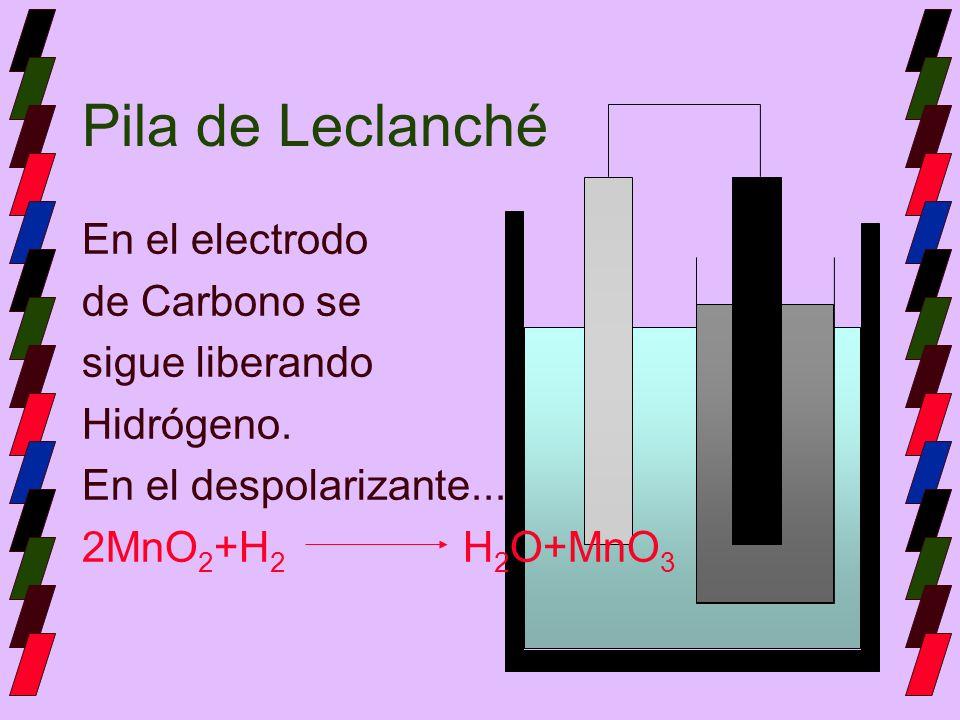 Pila de Leclanché En el electrodo de Carbono se sigue liberando