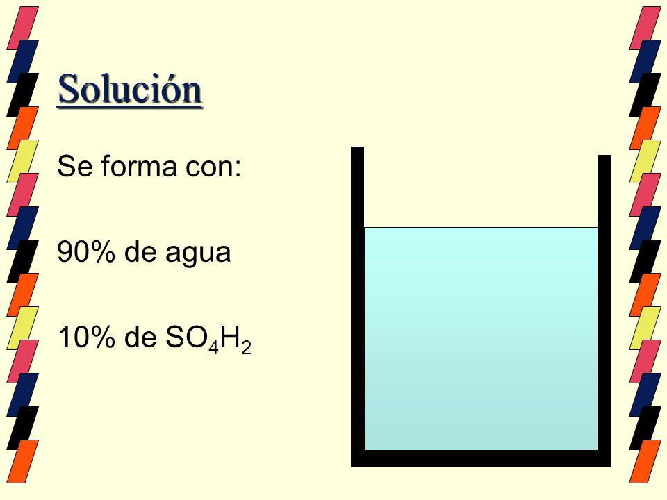 Solución Se forma con: 90% de agua 10% de SO4H2