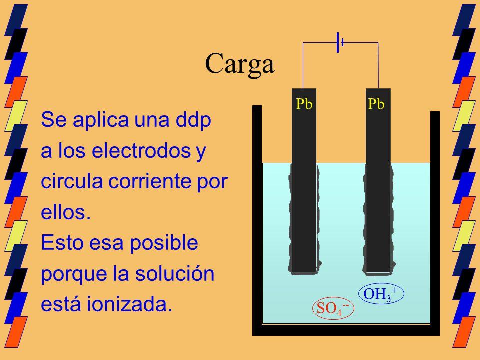 Carga Se aplica una ddp a los electrodos y circula corriente por