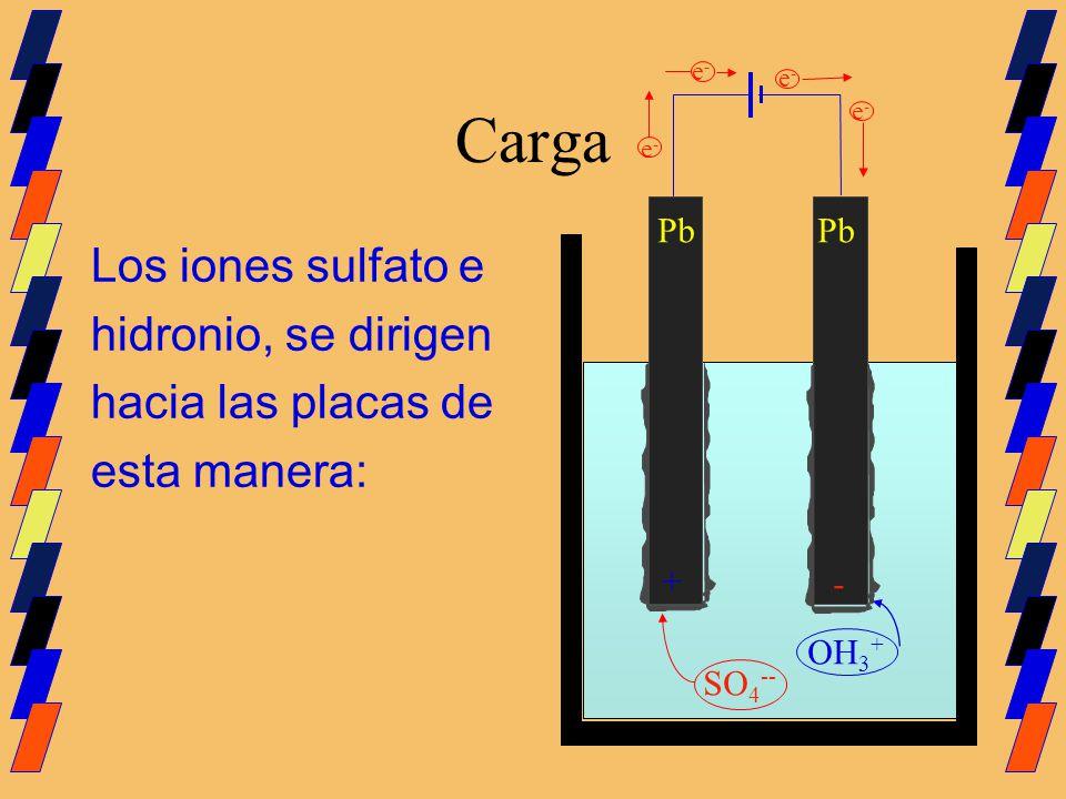 Carga Los iones sulfato e hidronio, se dirigen hacia las placas de