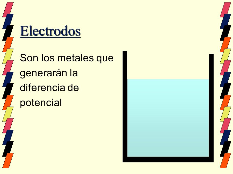 Electrodos Son los metales que generarán la diferencia de potencial