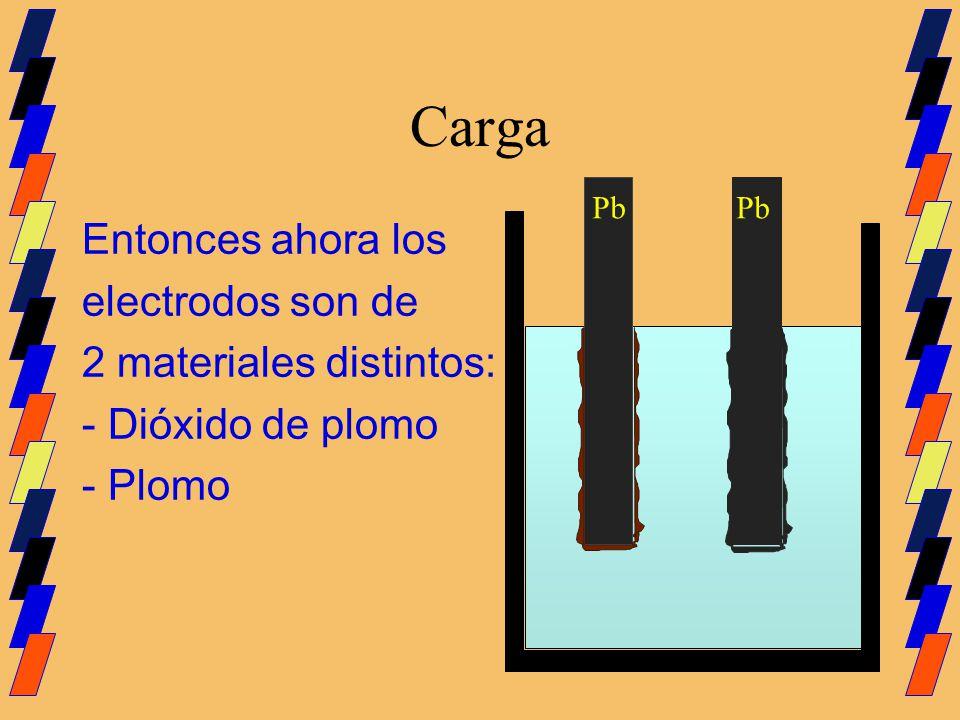 Carga Entonces ahora los electrodos son de 2 materiales distintos: