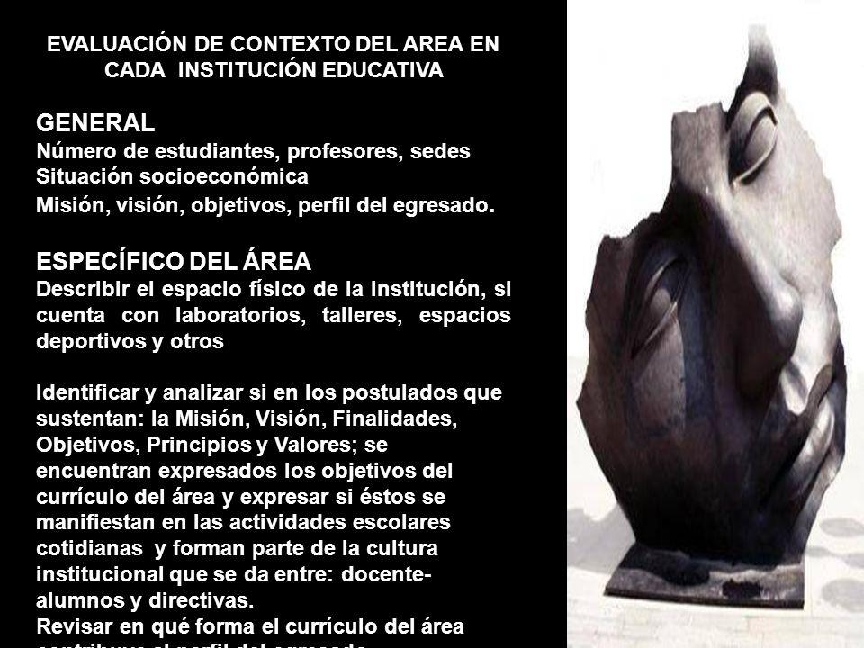 EVALUACIÓN DE CONTEXTO DEL AREA EN CADA INSTITUCIÓN EDUCATIVA