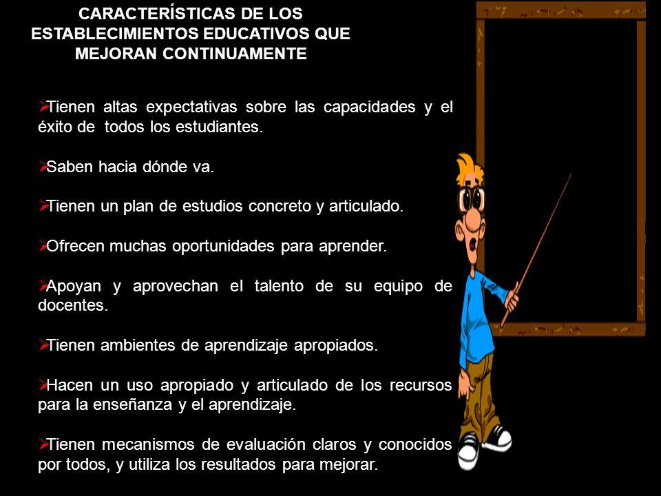 CARACTERÍSTICAS DE LOS ESTABLECIMIENTOS EDUCATIVOS QUE MEJORAN CONTINUAMENTE