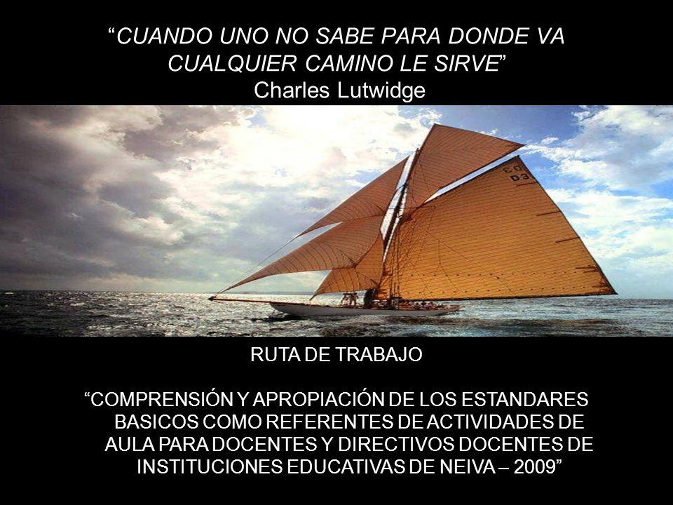 CUANDO UNO NO SABE PARA DONDE VA CUALQUIER CAMINO LE SIRVE Charles Lutwidge