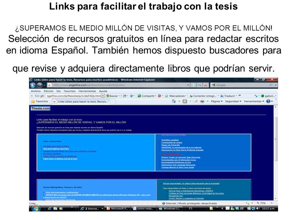 Links para facilitar el trabajo con la tesis ¿SUPERAMOS EL MEDIO MILLÓN DE VISITAS, Y VAMOS POR EL MILLÓN.