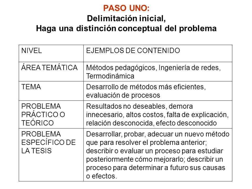 PASO UNO: Delimitación inicial, Haga una distinción conceptual del problema