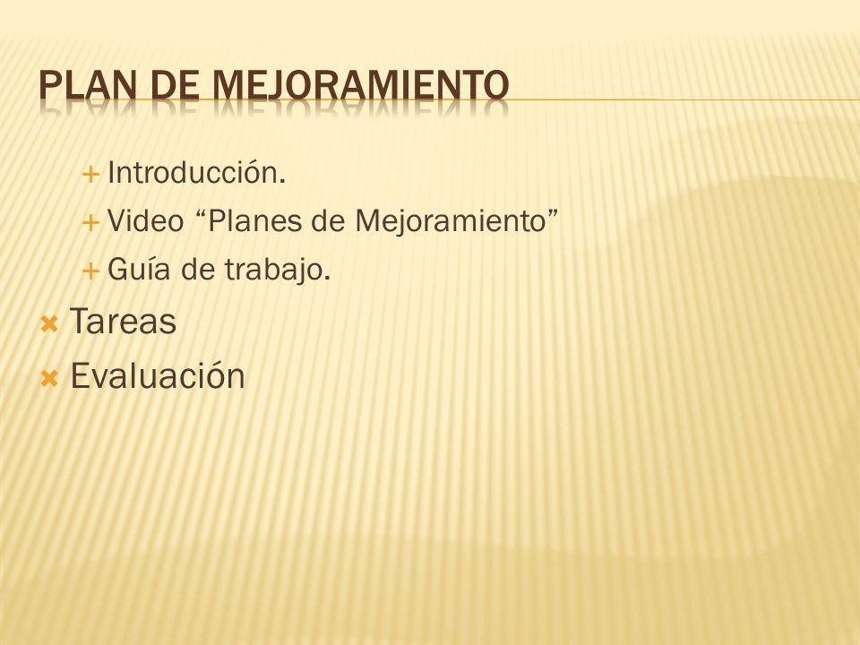 PLAN DE MEJORAMIENTO Tareas Evaluación Introducción.
