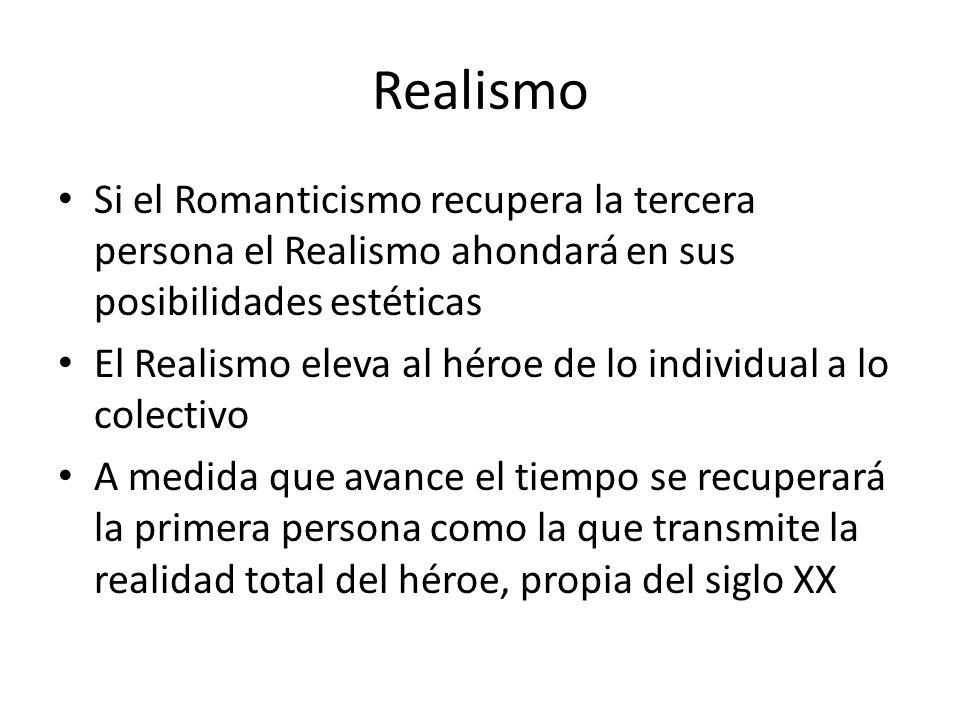 Realismo Si el Romanticismo recupera la tercera persona el Realismo ahondará en sus posibilidades estéticas.