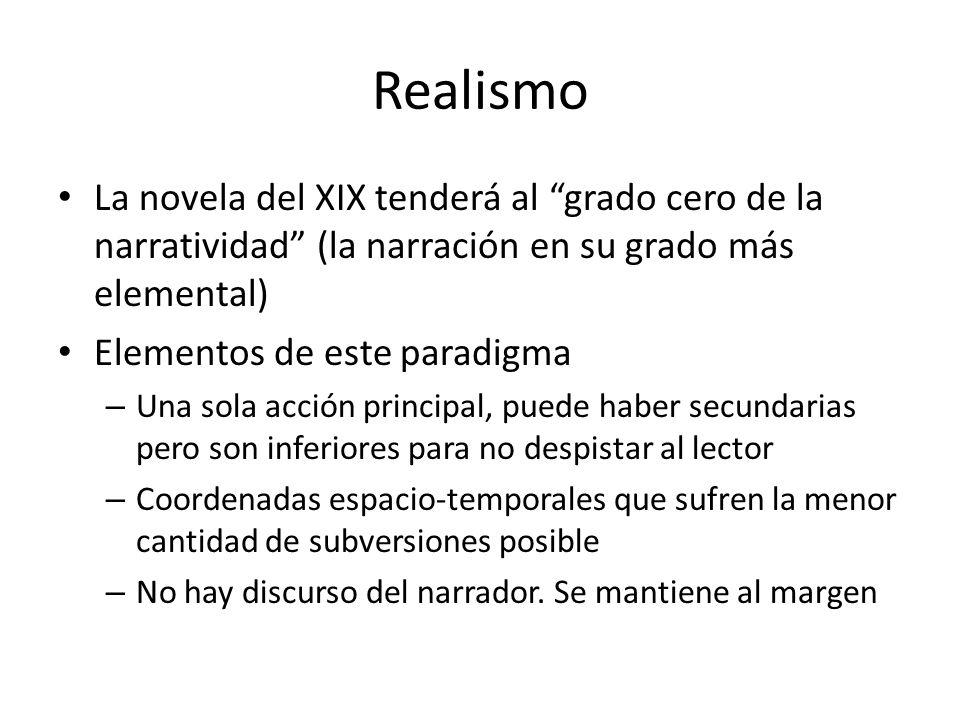 Realismo La novela del XIX tenderá al grado cero de la narratividad (la narración en su grado más elemental)