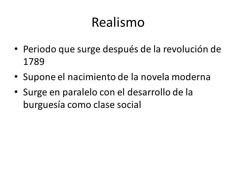 Realismo Periodo que surge después de la revolución de 1789