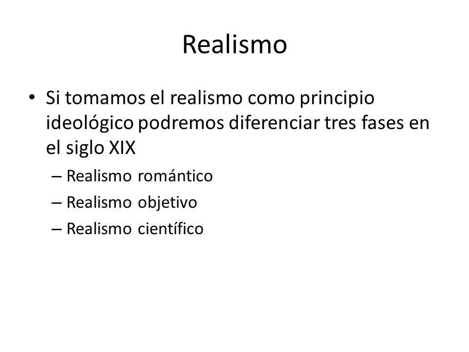 Realismo Si tomamos el realismo como principio ideológico podremos diferenciar tres fases en el siglo XIX.