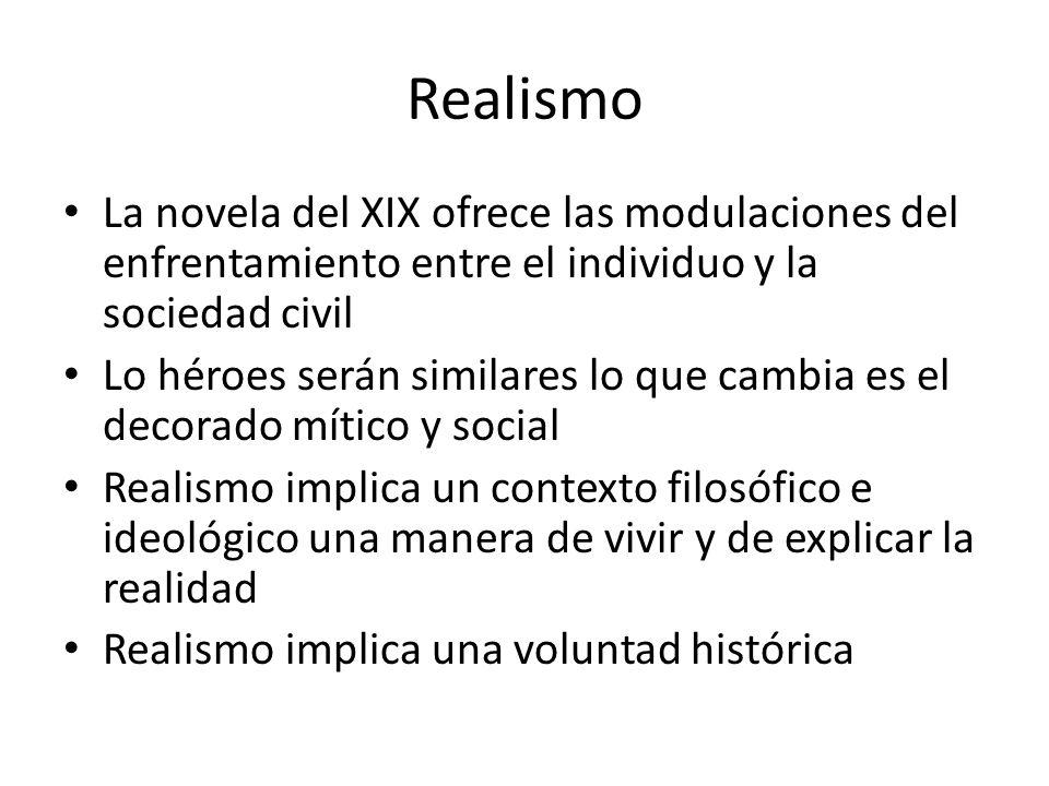 Realismo La novela del XIX ofrece las modulaciones del enfrentamiento entre el individuo y la sociedad civil.
