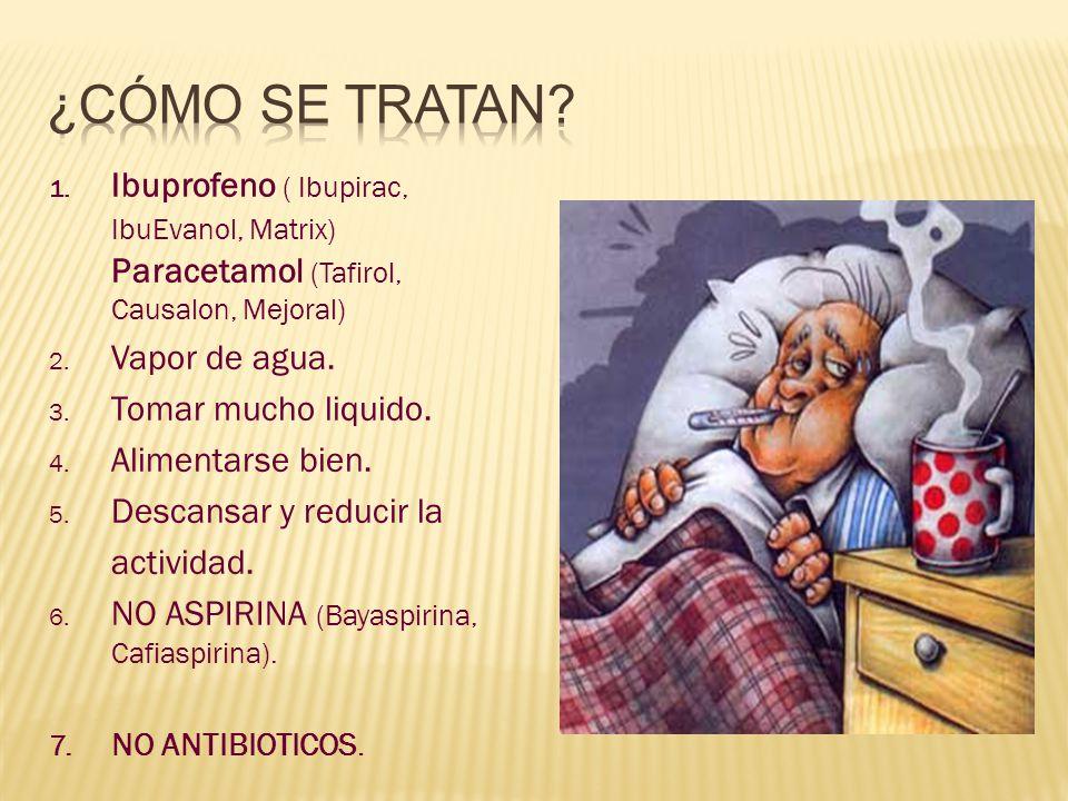 ¿Cómo SE TRATAN Ibuprofeno ( Ibupirac, IbuEvanol, Matrix) Paracetamol (Tafirol, Causalon, Mejoral)