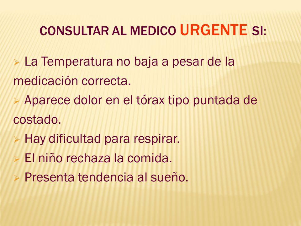 CONSULTAR AL MEDICO URGENTE SI: