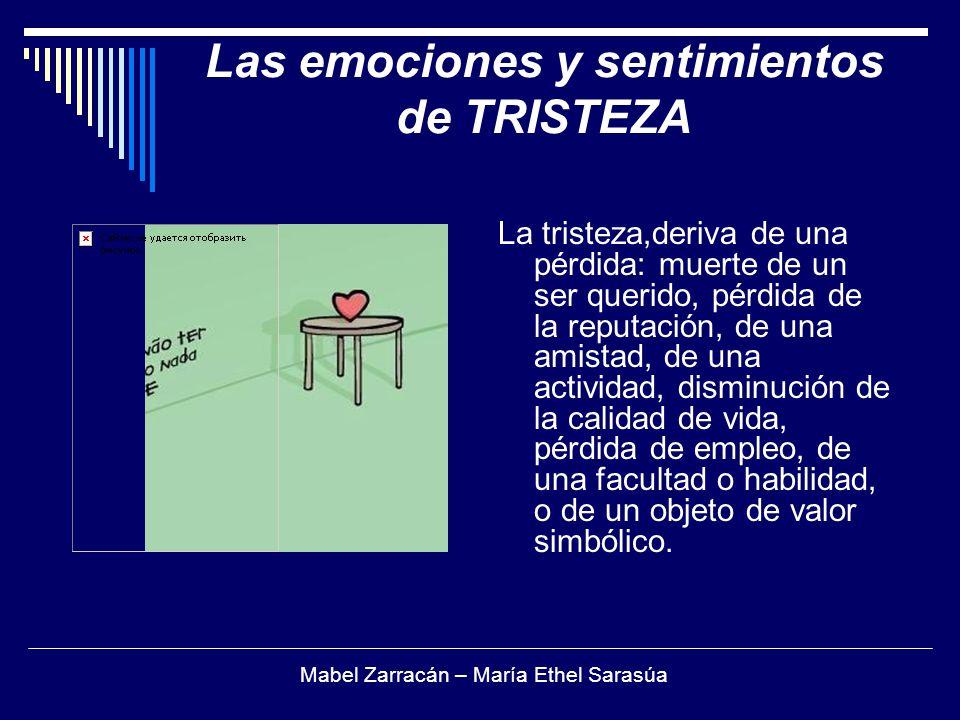 Las emociones y sentimientos de TRISTEZA