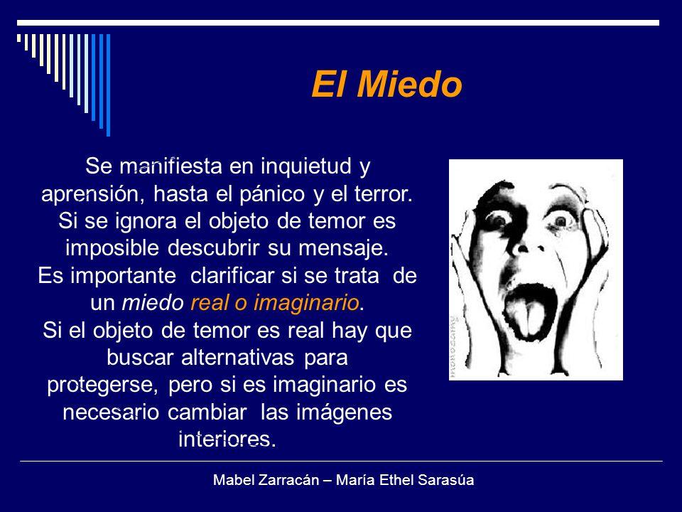 El Miedo Se manifiesta en inquietud y aprensión, hasta el pánico y el terror. Si se ignora el objeto de temor es imposible descubrir su mensaje.