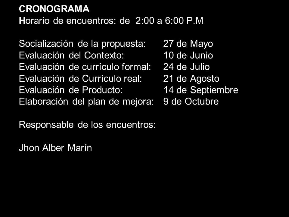 CRONOGRAMA Horario de encuentros: de 2:00 a 6:00 P