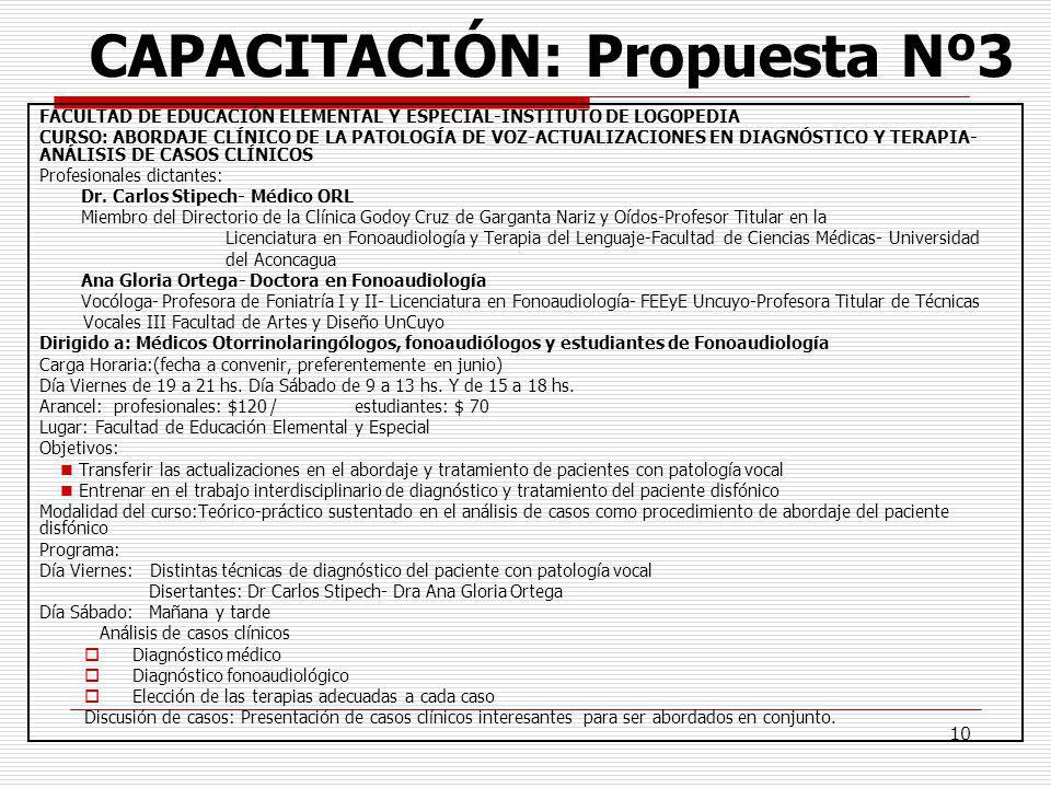 CAPACITACIÓN: Propuesta Nº3