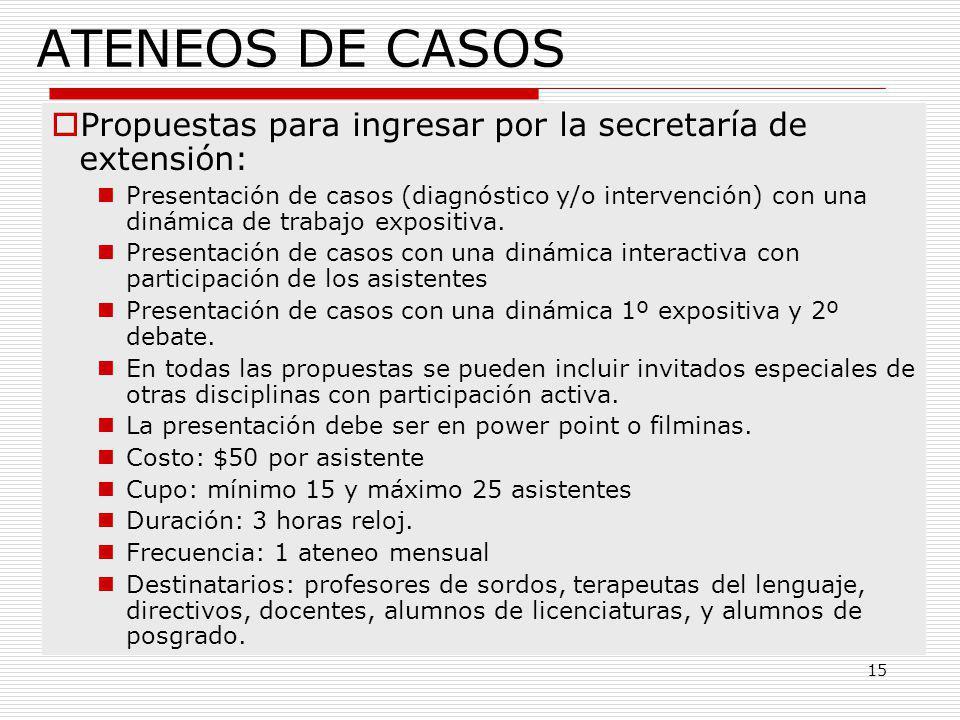 ATENEOS DE CASOS Propuestas para ingresar por la secretaría de extensión: