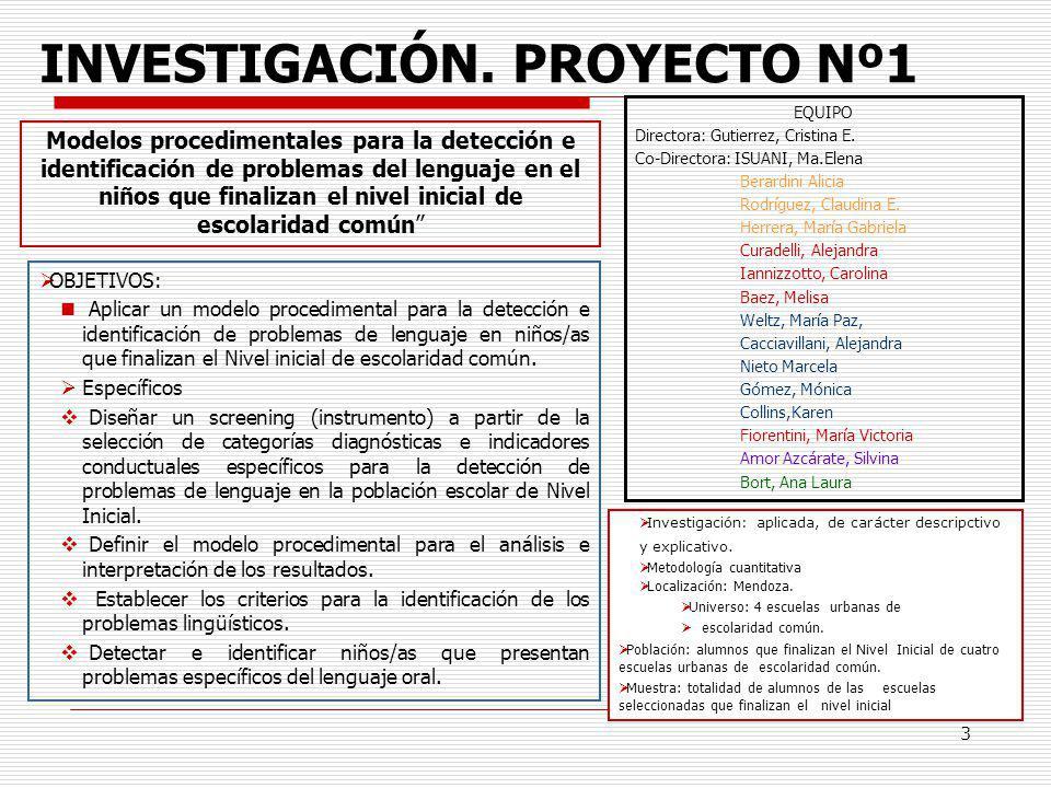 INVESTIGACIÓN. PROYECTO Nº1
