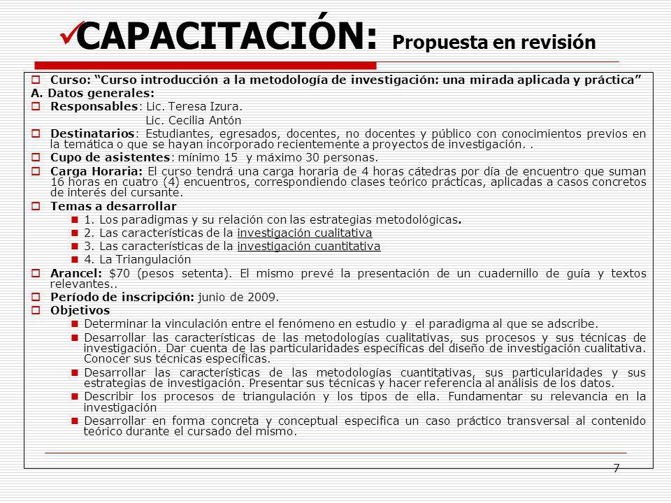 CAPACITACIÓN: Propuesta en revisión