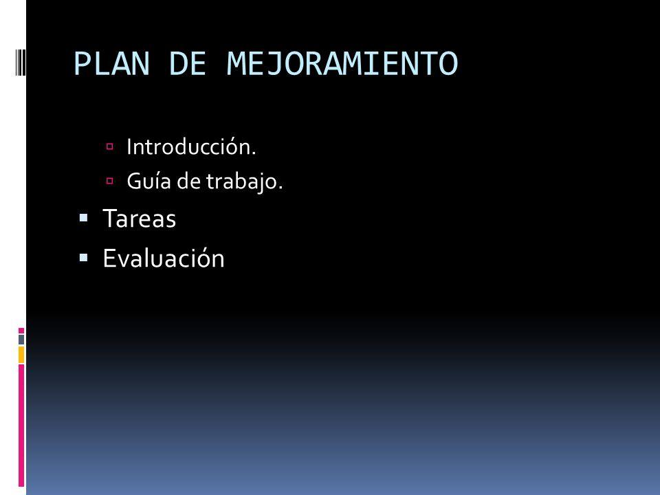 PLAN DE MEJORAMIENTO Introducción. Guía de trabajo. Tareas Evaluación