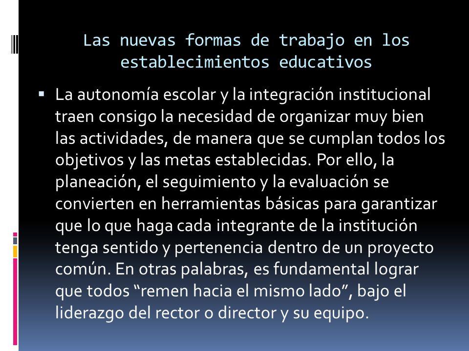 Las nuevas formas de trabajo en los establecimientos educativos