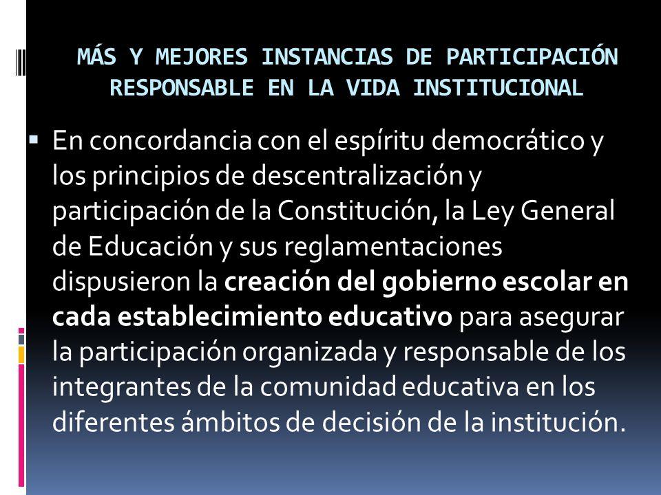 MÁS Y MEJORES INSTANCIAS DE PARTICIPACIÓN RESPONSABLE EN LA VIDA INSTITUCIONAL