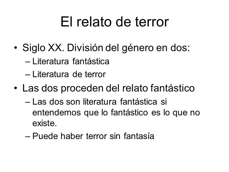 El relato de terror Siglo XX. División del género en dos: