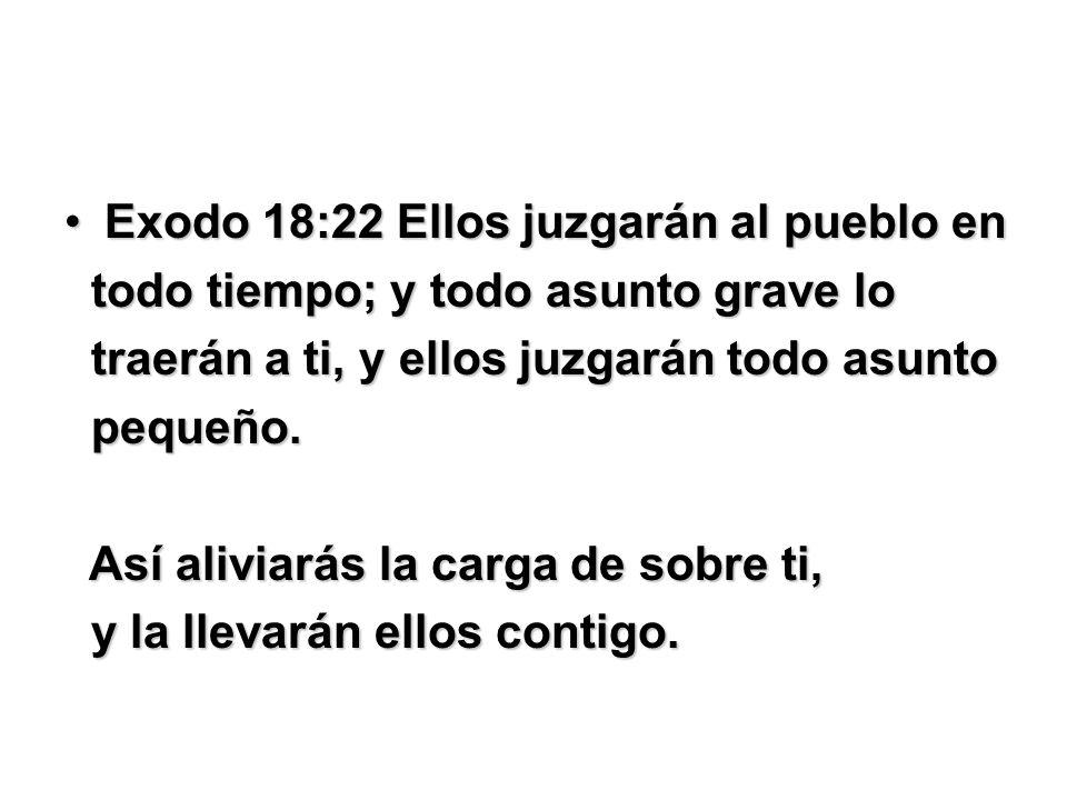Exodo 18:22 Ellos juzgarán al pueblo en