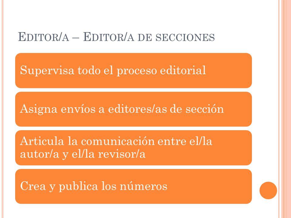 Editor/a – Editor/a de secciones