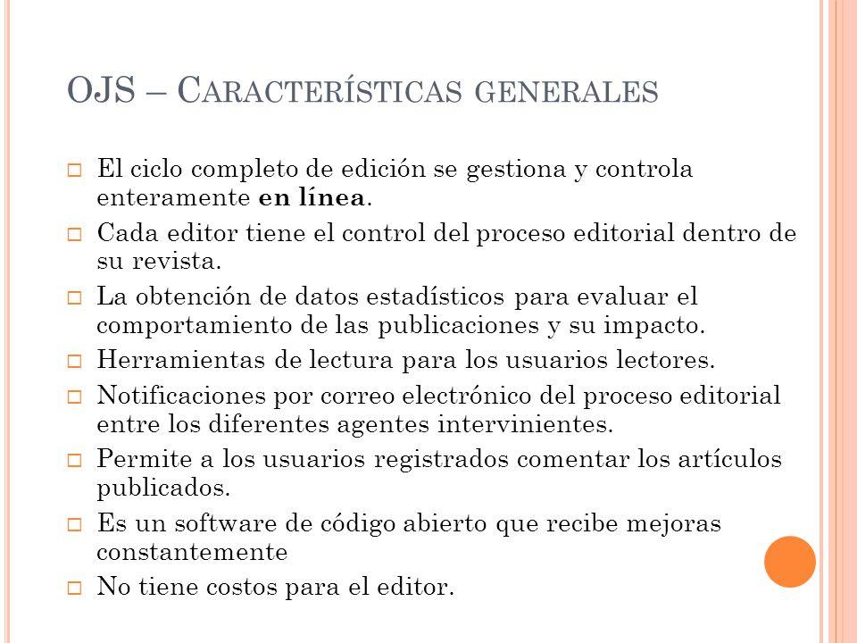 OJS – Características generales