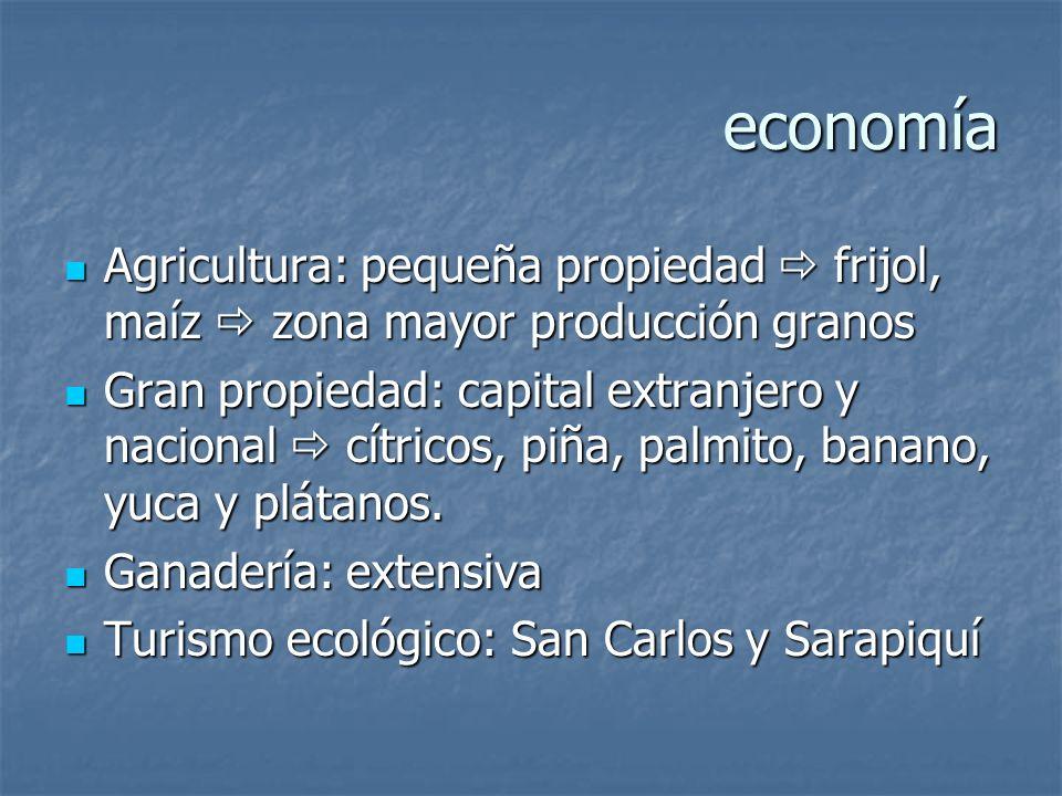 economía Agricultura: pequeña propiedad  frijol, maíz  zona mayor producción granos.