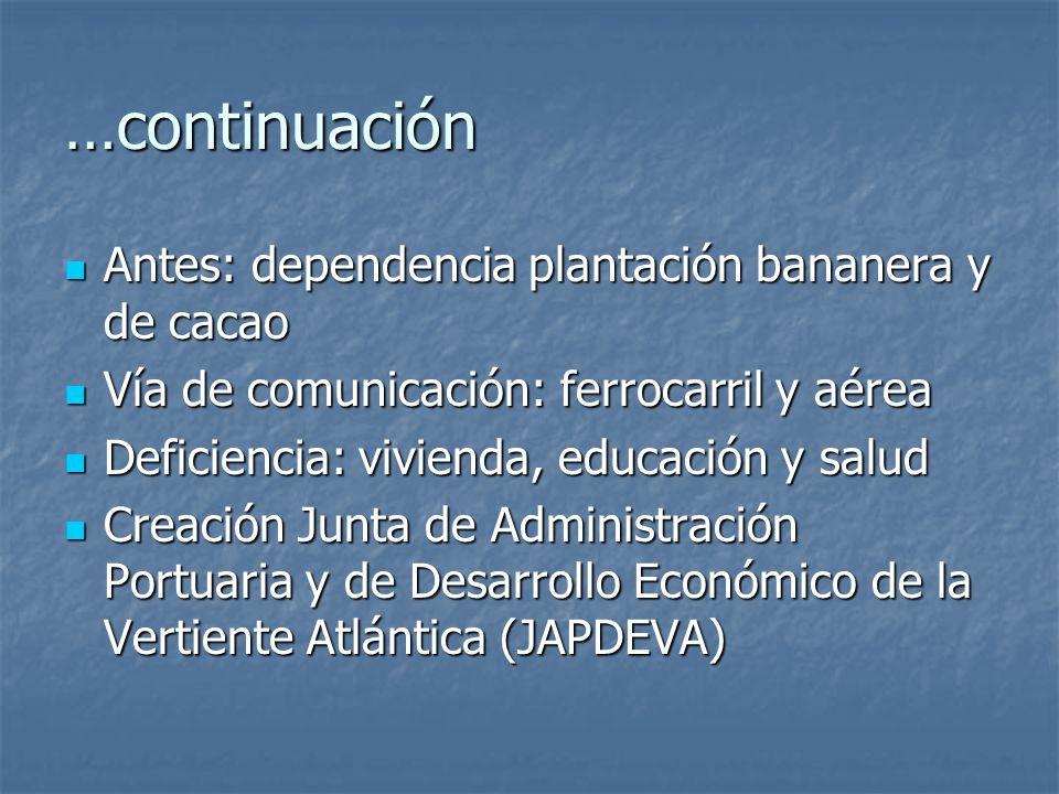 …continuación Antes: dependencia plantación bananera y de cacao