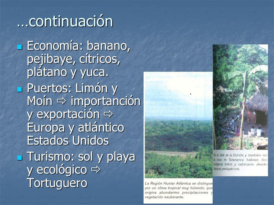 …continuación Economía: banano, pejibaye, cítricos, plátano y yuca.