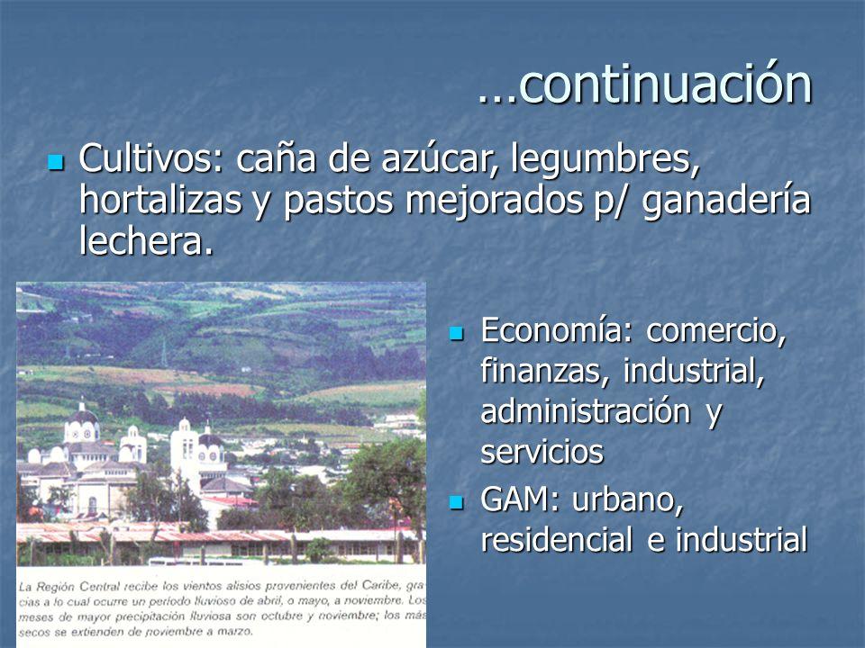 …continuación Cultivos: caña de azúcar, legumbres, hortalizas y pastos mejorados p/ ganadería lechera.