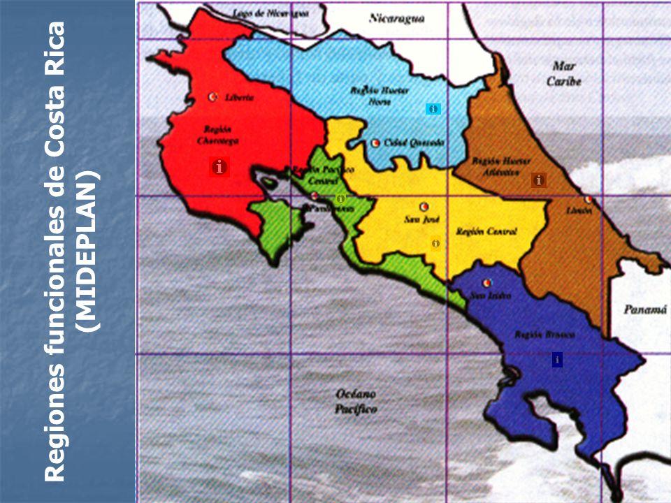 Regiones funcionales de Costa Rica (MIDEPLAN)