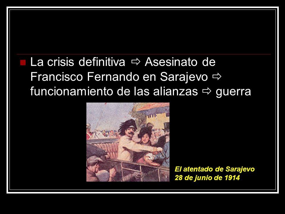 La crisis definitiva  Asesinato de Francisco Fernando en Sarajevo  funcionamiento de las alianzas  guerra