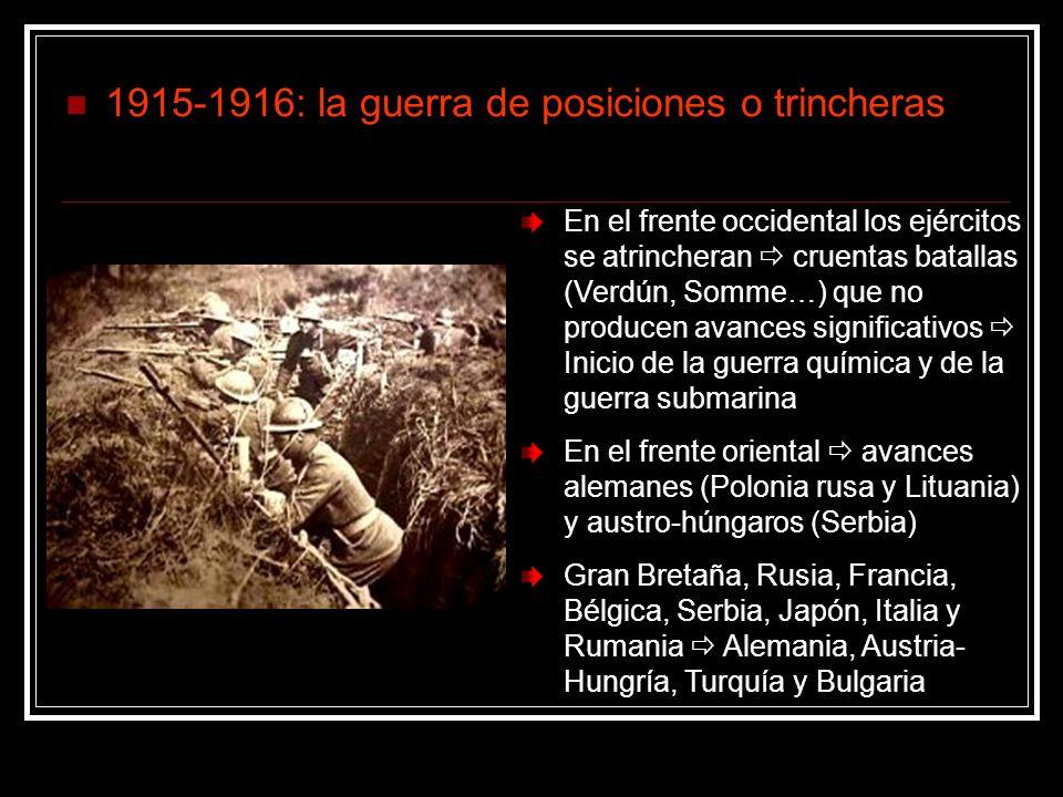 1915-1916: la guerra de posiciones o trincheras