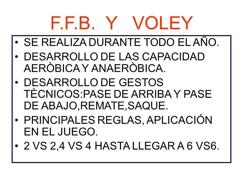F.F.B. Y VOLEY SE REALIZA DURANTE TODO EL AÑO.