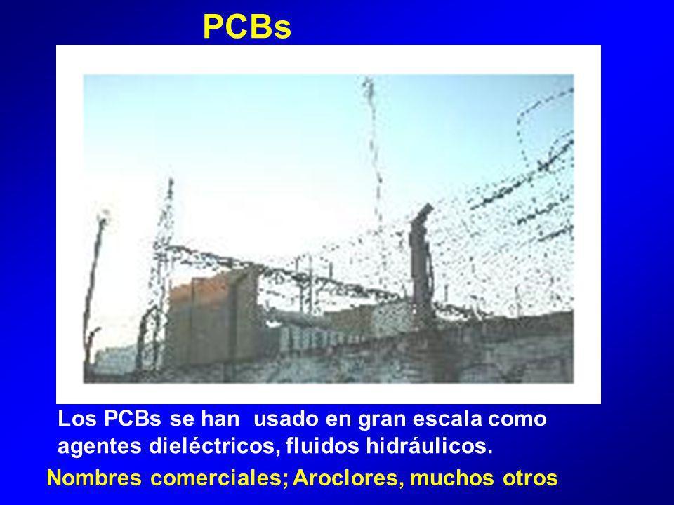 PCBs Los PCBs se han usado en gran escala como agentes dieléctricos, fluidos hidráulicos.