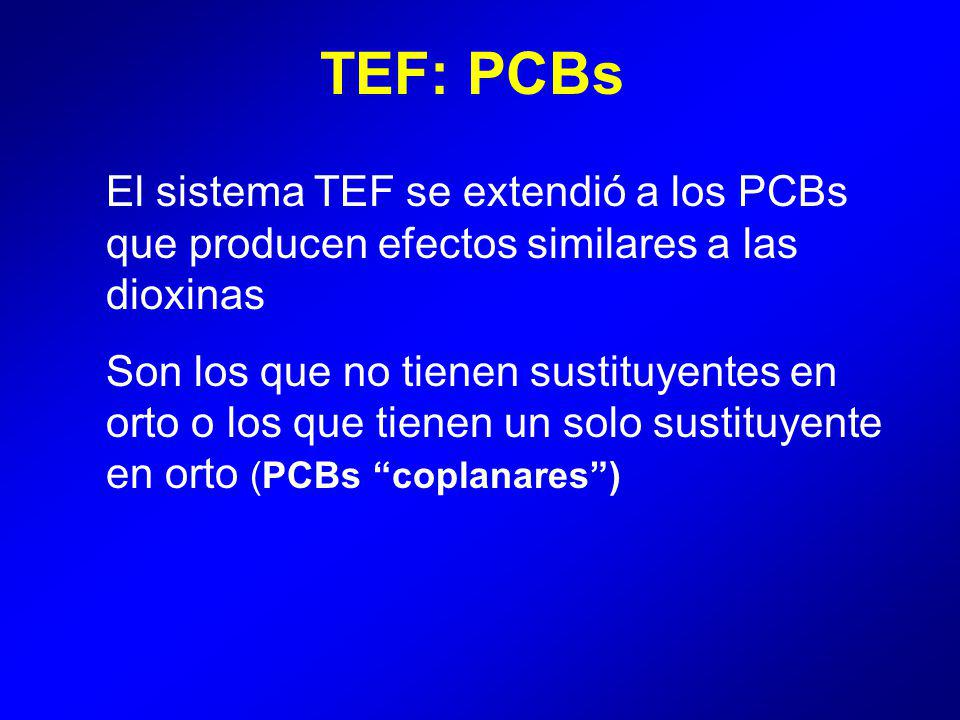 TEF: PCBs El sistema TEF se extendió a los PCBs que producen efectos similares a las dioxinas.