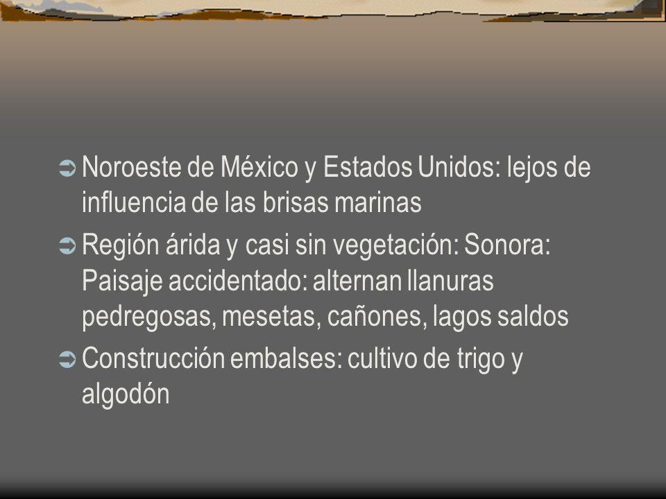 Noroeste de México y Estados Unidos: lejos de influencia de las brisas marinas