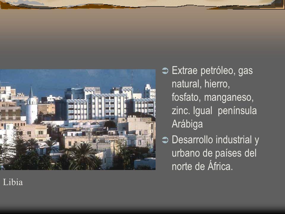 Desarrollo industrial y urbano de países del norte de África.