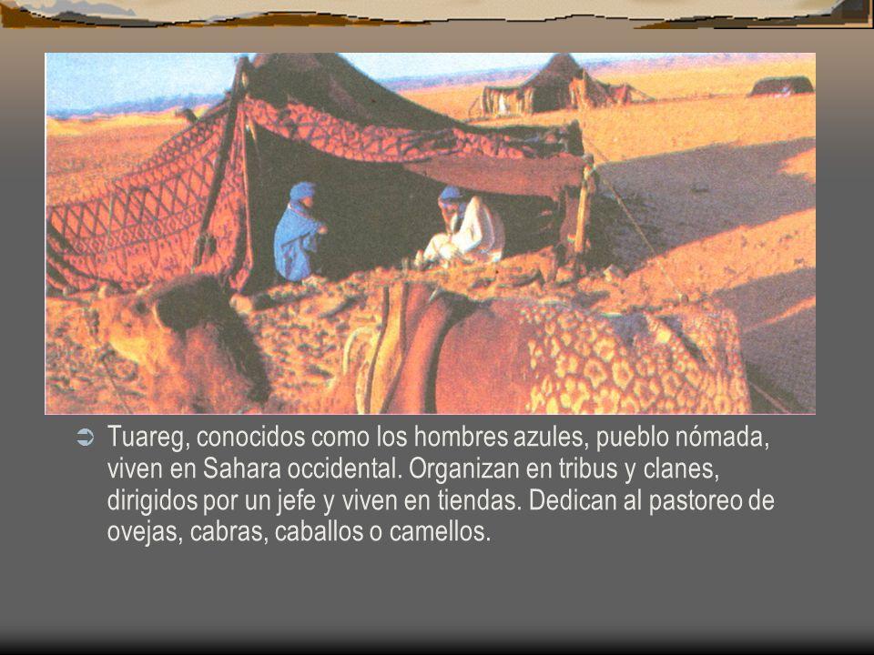 Tuareg, conocidos como los hombres azules, pueblo nómada, viven en Sahara occidental.