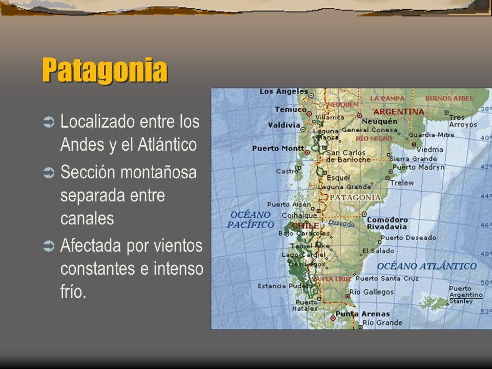 Patagonia Localizado entre los Andes y el Atlántico